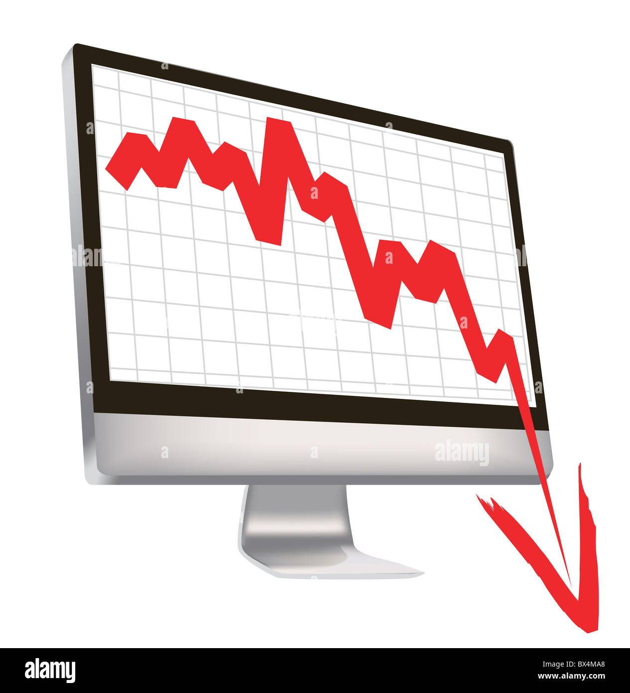 illustration of economic crisis, with red arrow break outs of computer monitor. - Stock Image