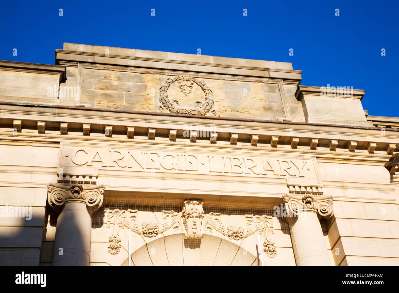 Restored Stonework Carnegie Library Harrogate North Yorkshire England - Stock Image