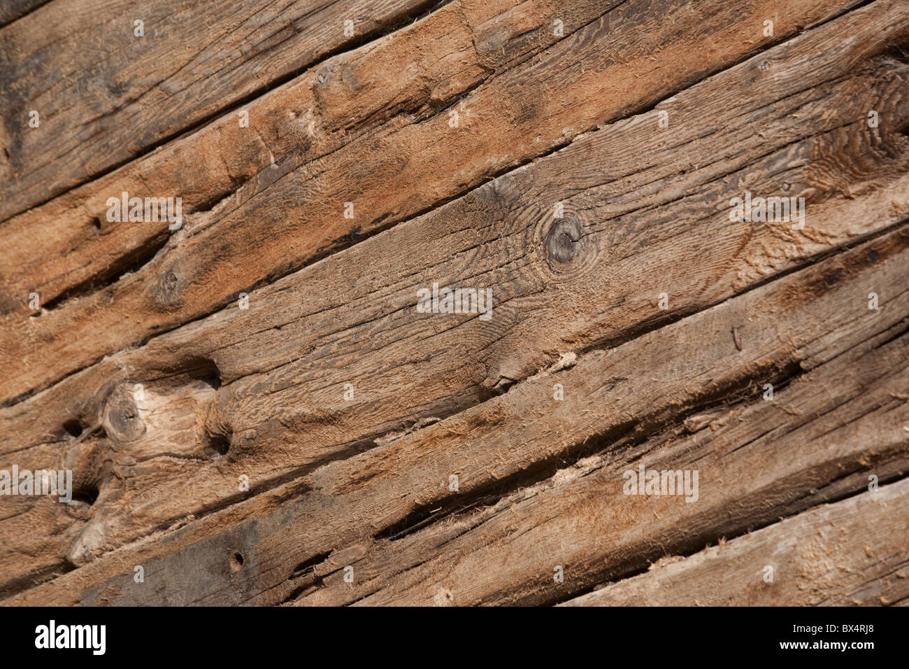 Recycled Old Railway Sleepers Used As A Retaining Wall Stock
