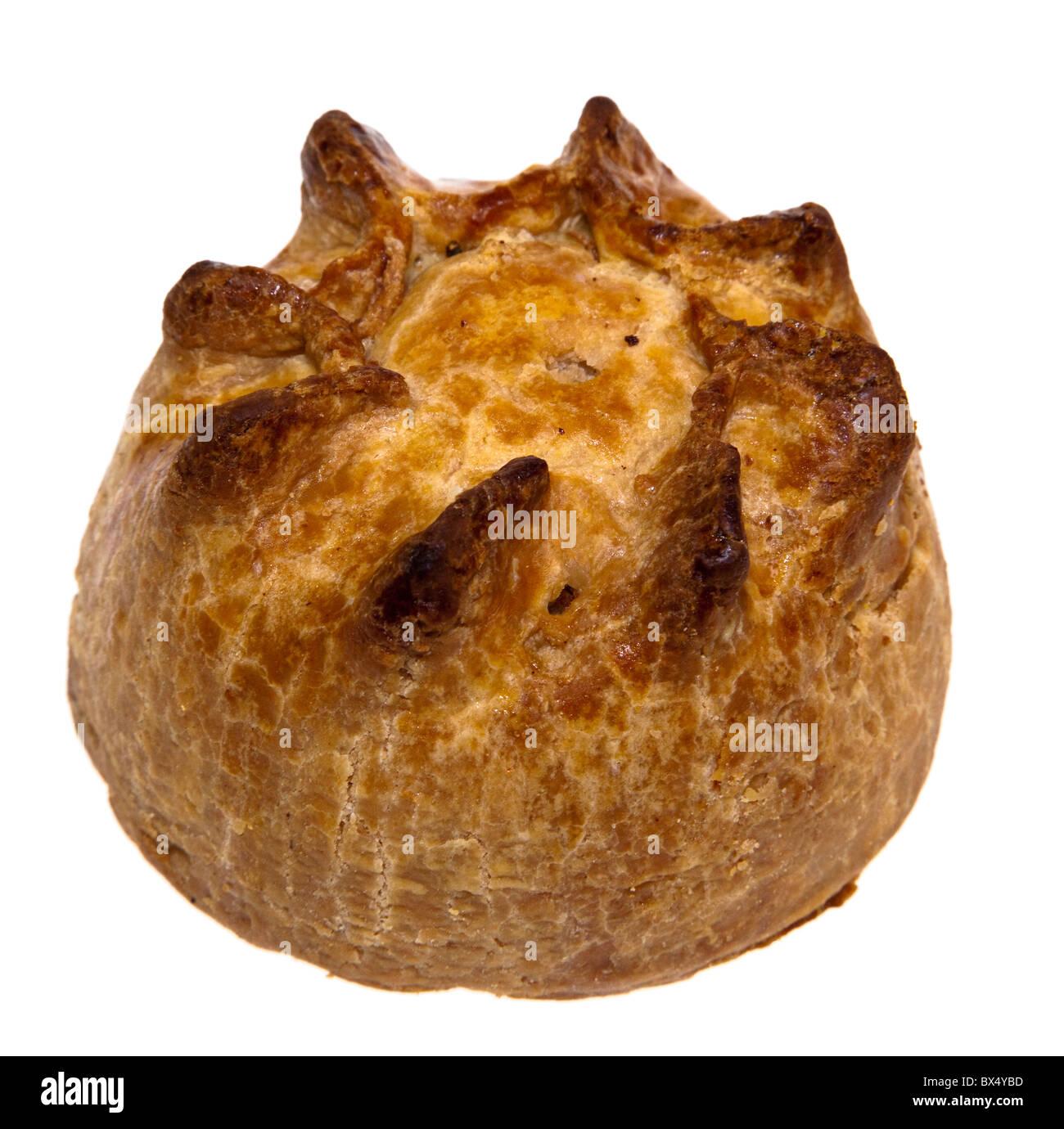 Pork pie sold by artisan butcher UK - Stock Image