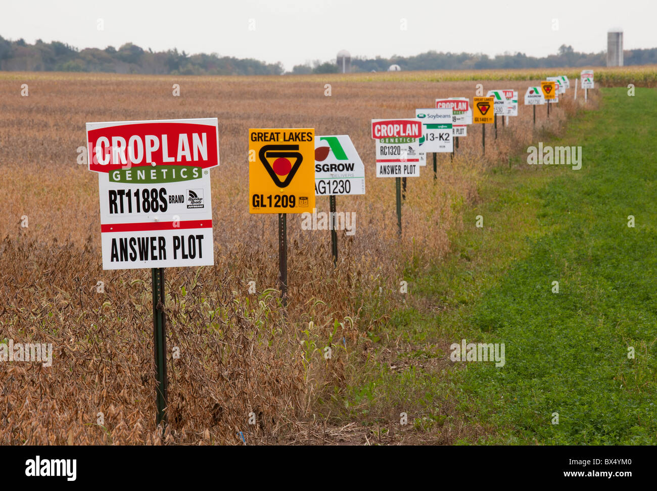 St. Nazianz, Wisconsin - Signs mark different crop varieties in a soybean field, including genetically modified - Stock Image