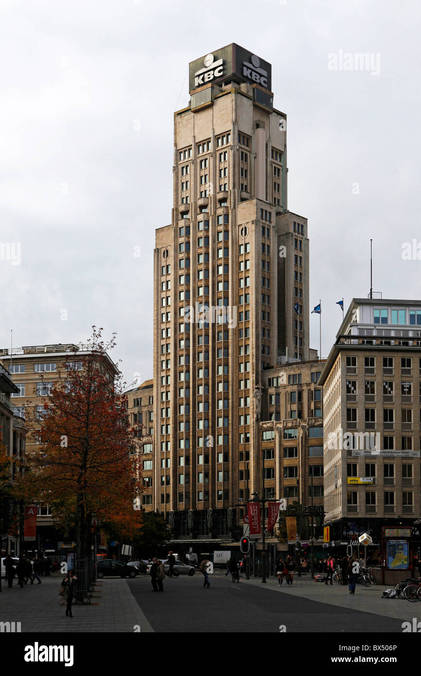 The KBC Tower (known as the Boerentoren) in Antwerp, Belgium. - Stock Image