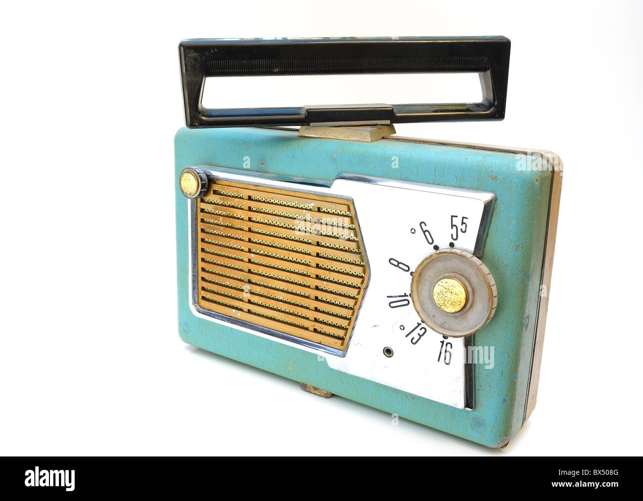 an antique portable radio isolated on white - Stock Image