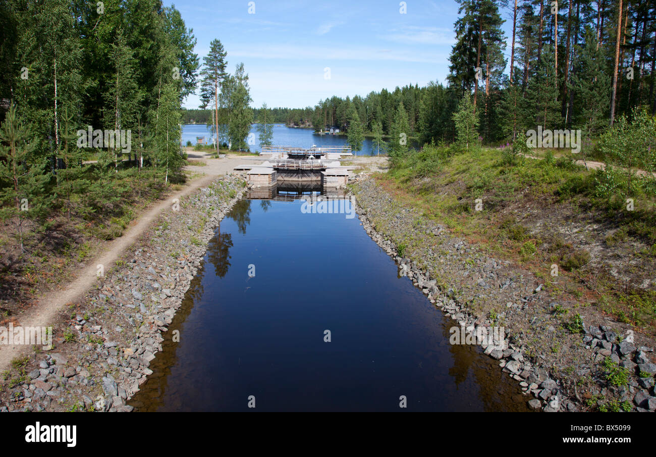 Kuivataipale , restored museum canal between Lake Kuvansi and Lake Paasvesi - Stock Image