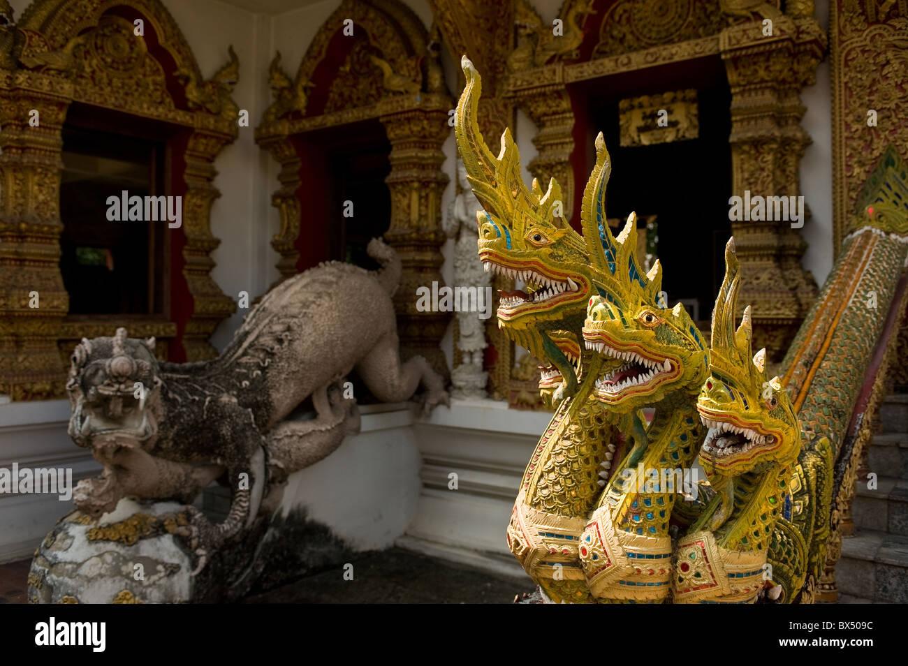 Nagas at Wat Buppharam in Chiang Mai in Thailand; Stock Photo