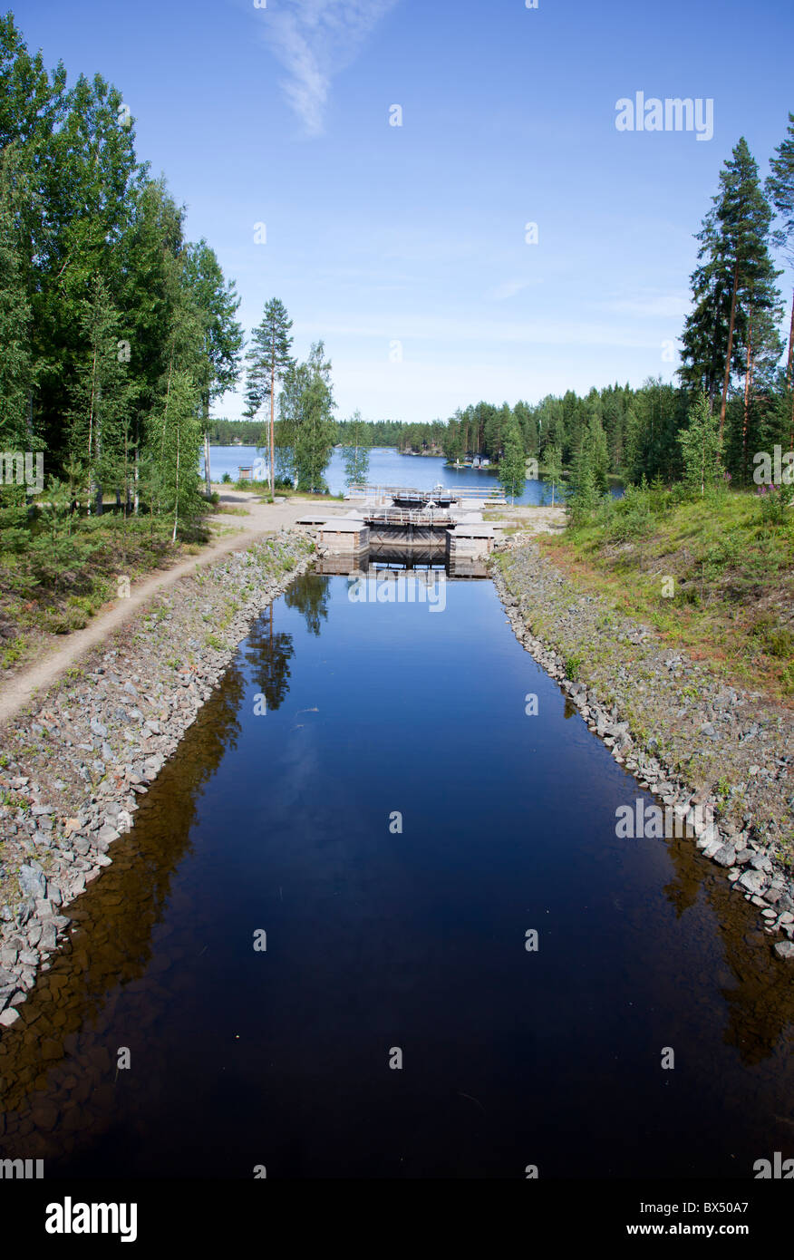 Kuivataipaleen kanava  , restored museum canal between Lake Kuvansi and Lake Paasvesi , Finland - Stock Image