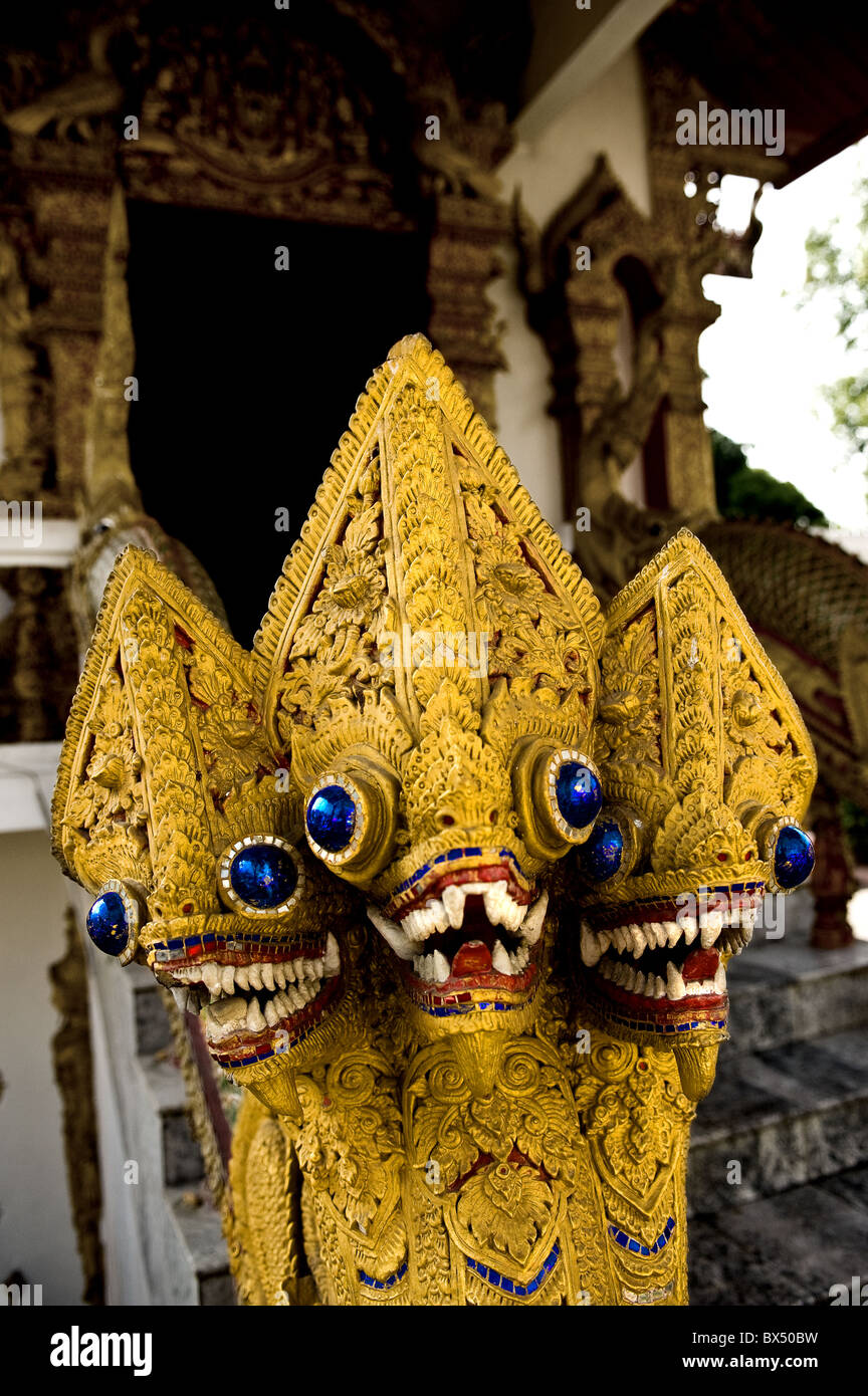 Thailand - Nagas at Wat Buppharam in Chiang Mai in Thailand Stock Photo