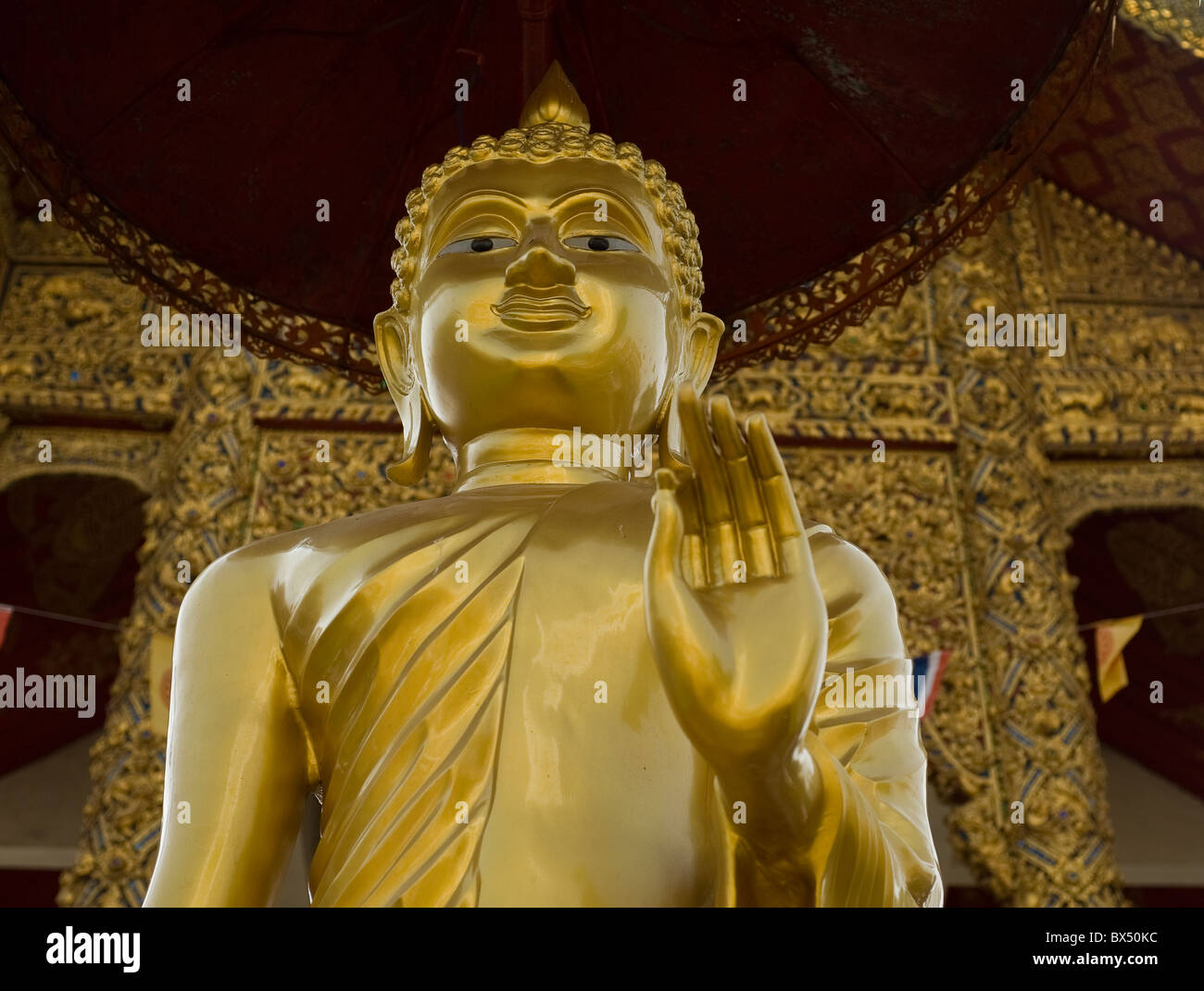 A Buddha at Wat Buppharam in Chiang Mai in Thailand Stock Photo