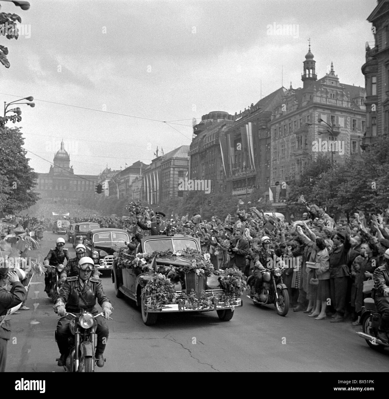 cosmonaut Yuri Gagarin, car, motorcade,Wenceslas Square - Stock Image