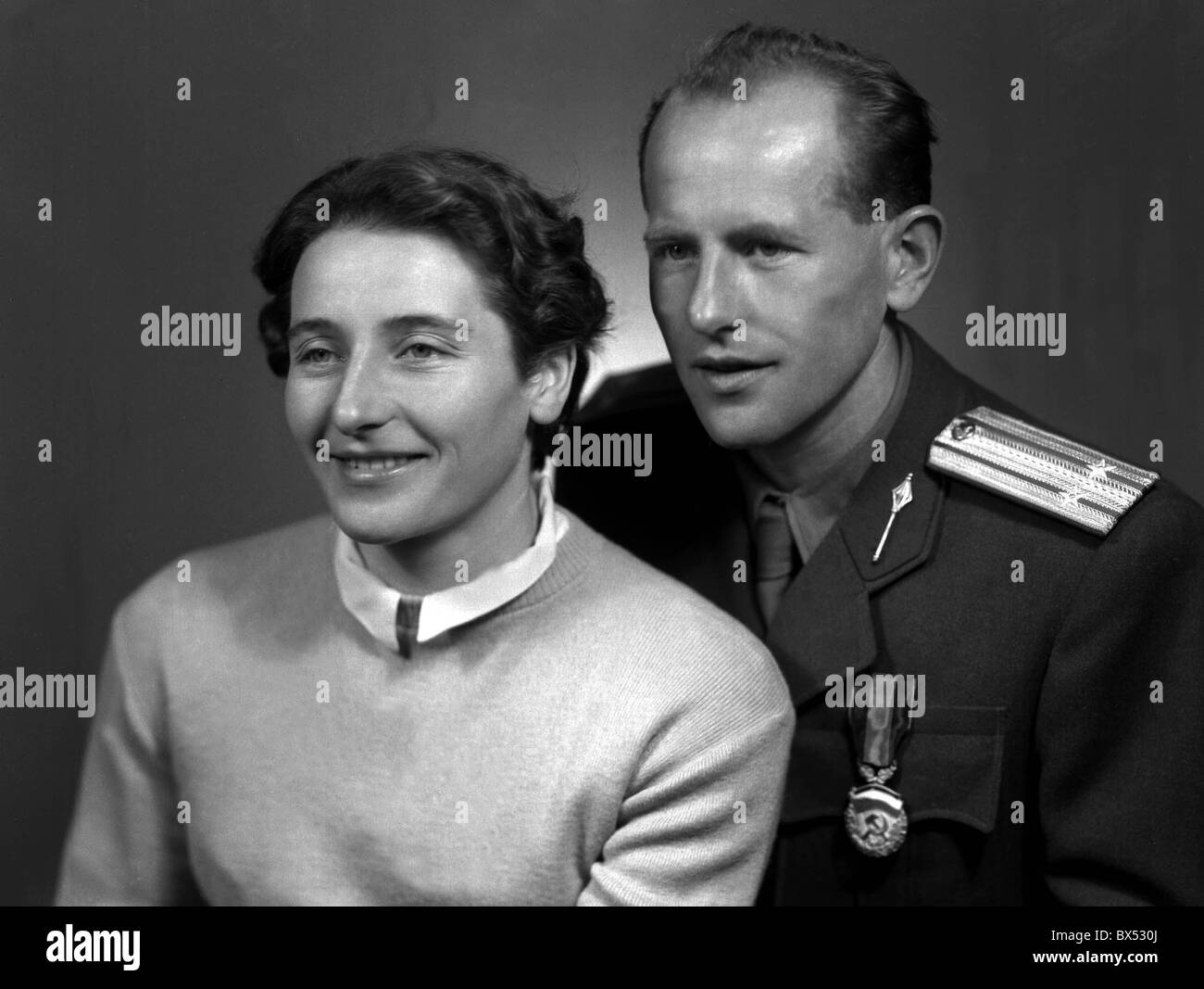 quadruple Olympic gold medal winner in running Emil Zatopek with wife Dana a gold medalist in Olympics in javelin - Stock Image