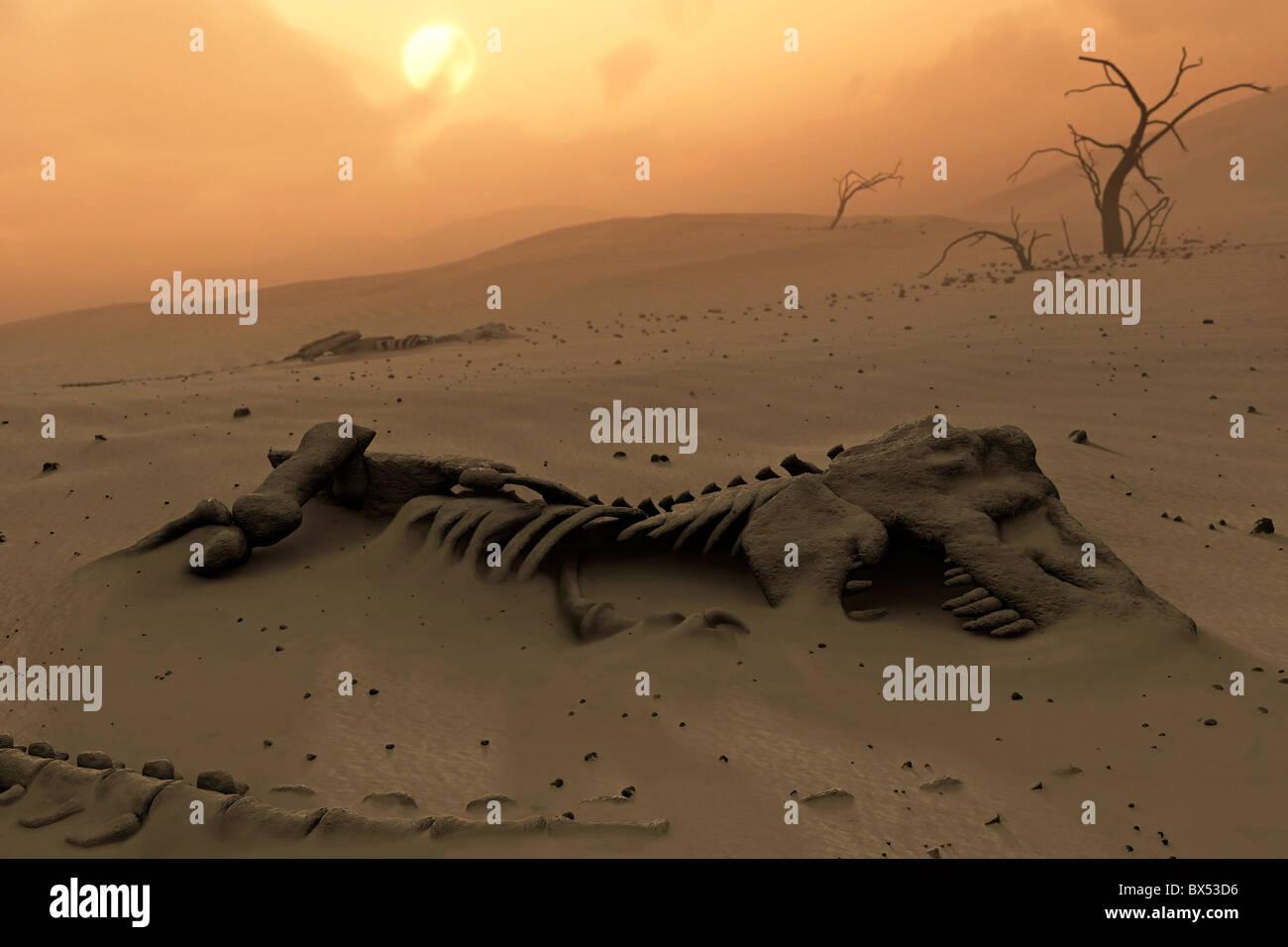 Dinosaur skeletons in the desert - Stock Image