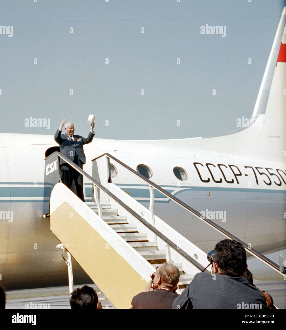 Nikita Khrushchev, arrival, aircraft - Stock Image