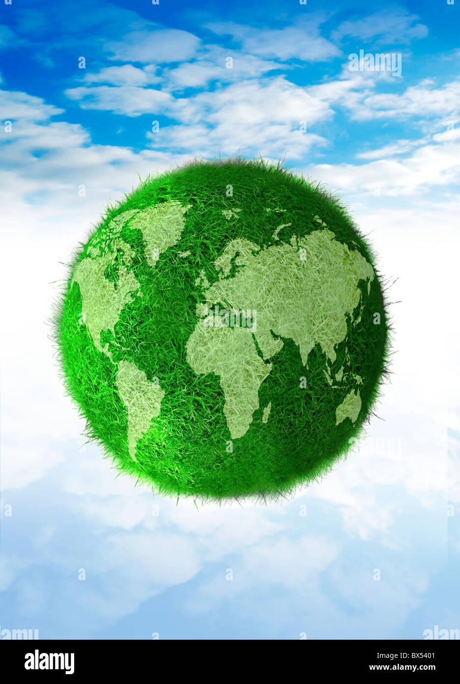Green planet, conceptual artwork Stock Photo