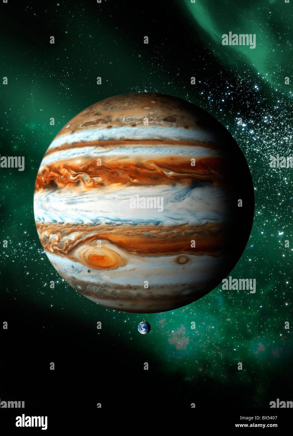 Jupiter and Earth, artwork - Stock Image