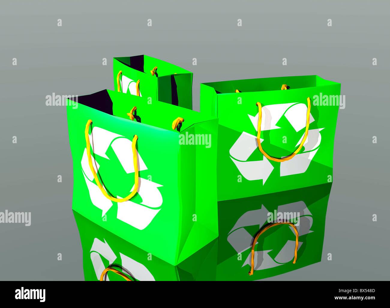 Reusable shopping bags, artwork - Stock Image