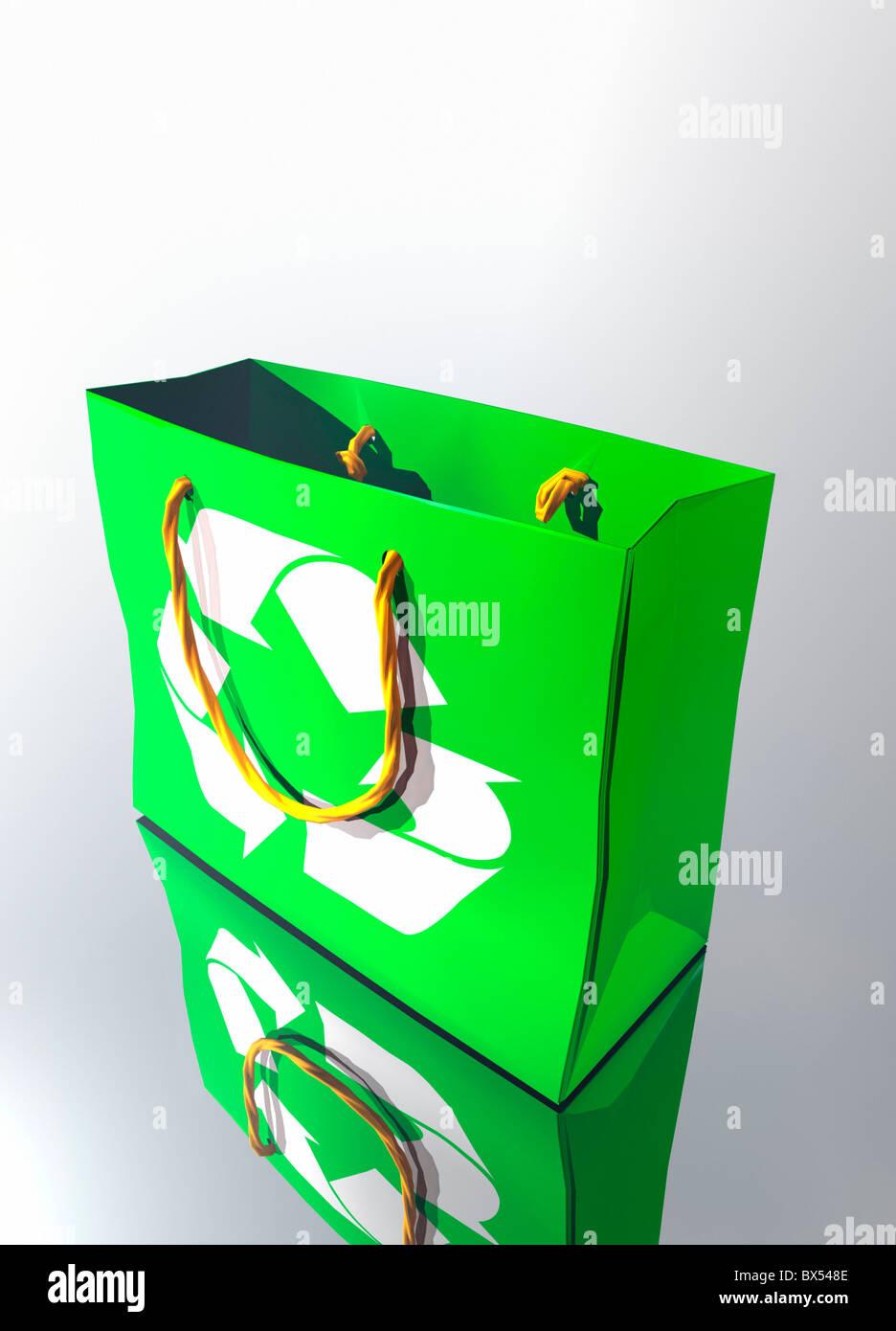 Reusable shopping bag, artwork - Stock Image