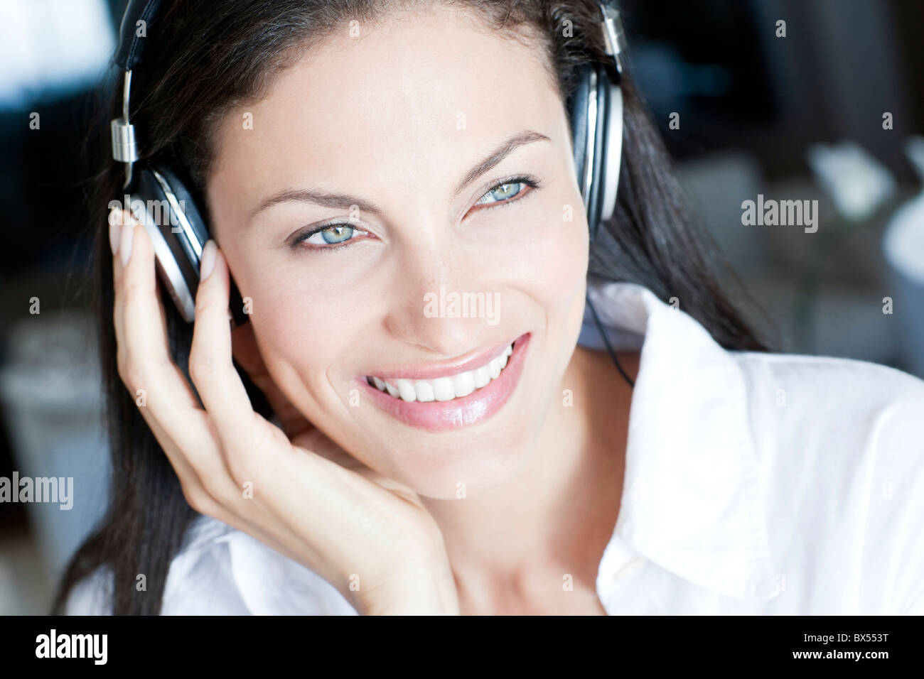 Listening to music - Stock Image