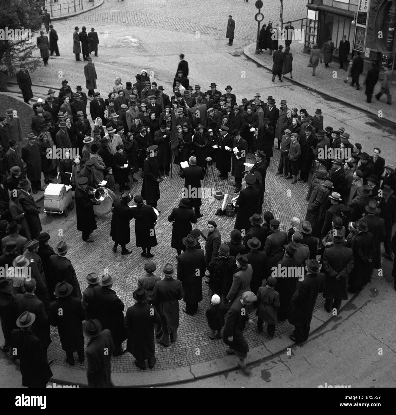 Czechoslovak Salvation Army band concerts on a Prague street in 1947. CTK Vintage Photo - Stock Image