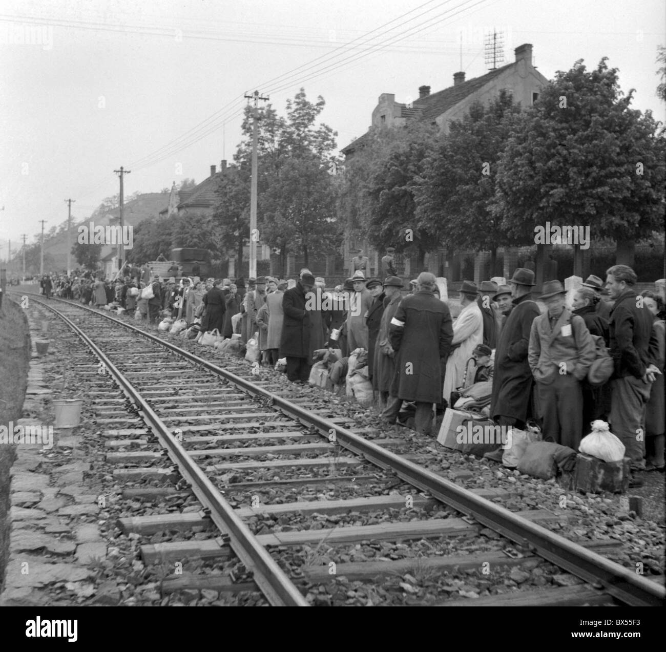German citizens are being moved to US occupied zone in Germany from Modrany near Prague Czechoslovakia on May 16 - Stock Image