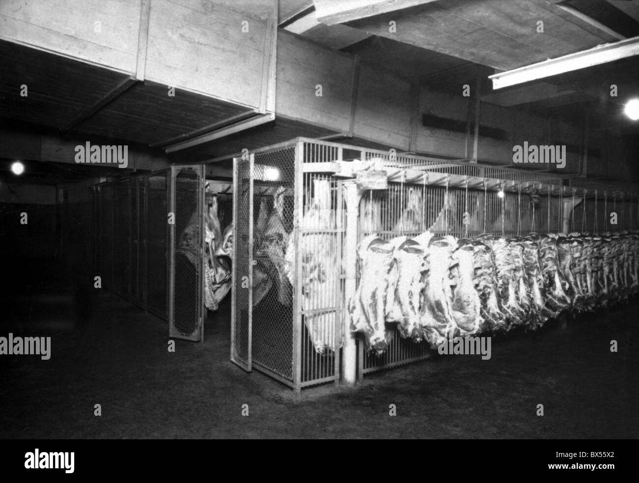 Prague 1935, vintage photograph of slaughter house at Holesovice. - Stock Image