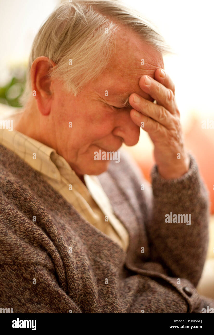 Depressed senior man - Stock Image