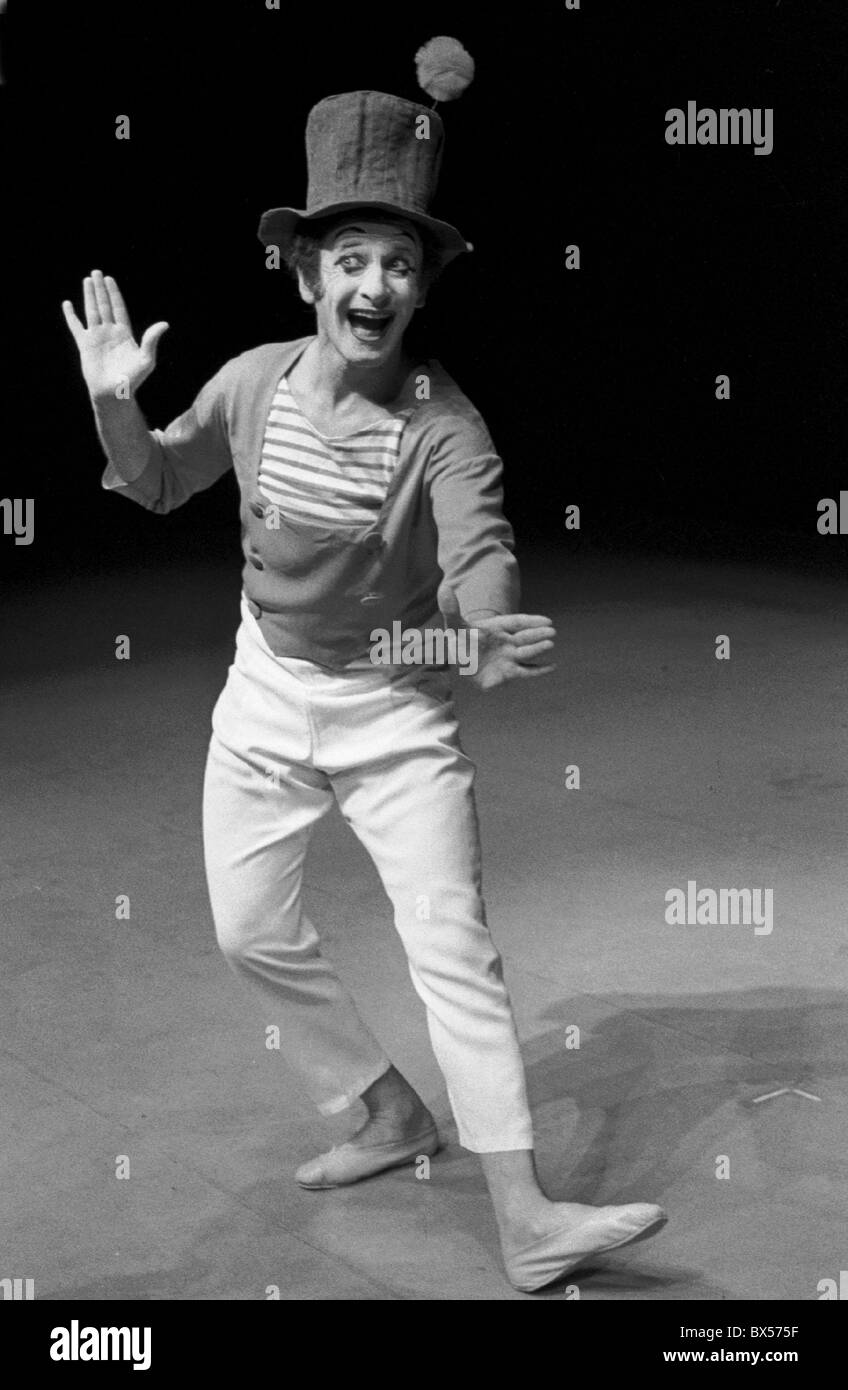 French actor and mime Marcel Marceau performing in Prague, June 1967. CTK Photo/Oldrich Picha - Stock Image