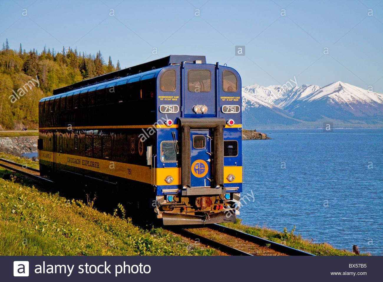 Alaska Railroad Train Along Turnagain Arm Stock Photo
