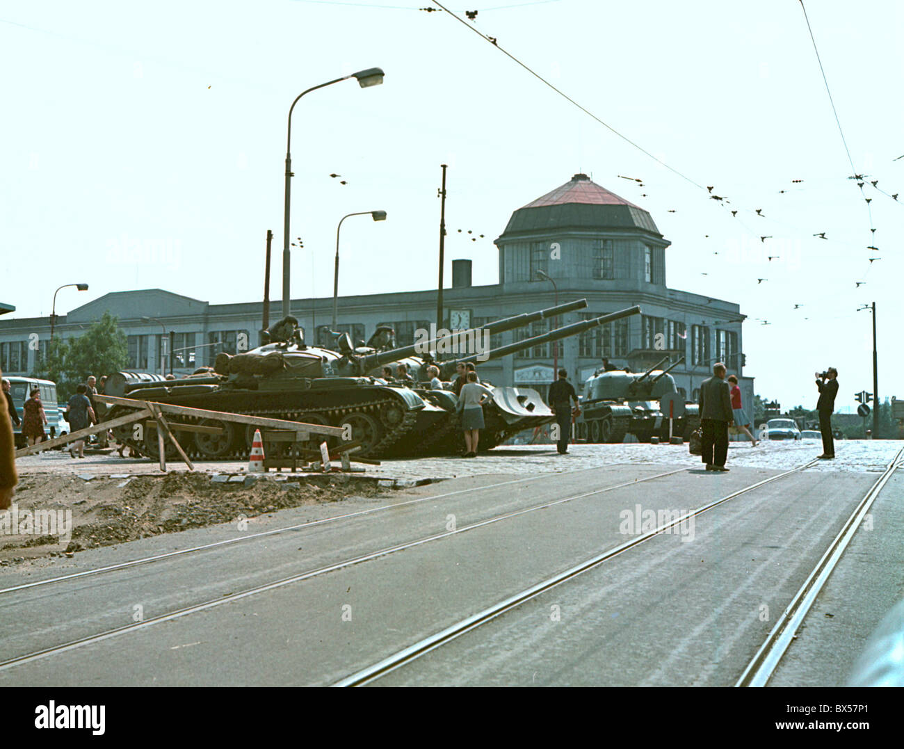 Troops of the Soviet Union and its Warsaw Pact allies invaded Czechoslovakia on August 21 1968  to halt political - Stock Image