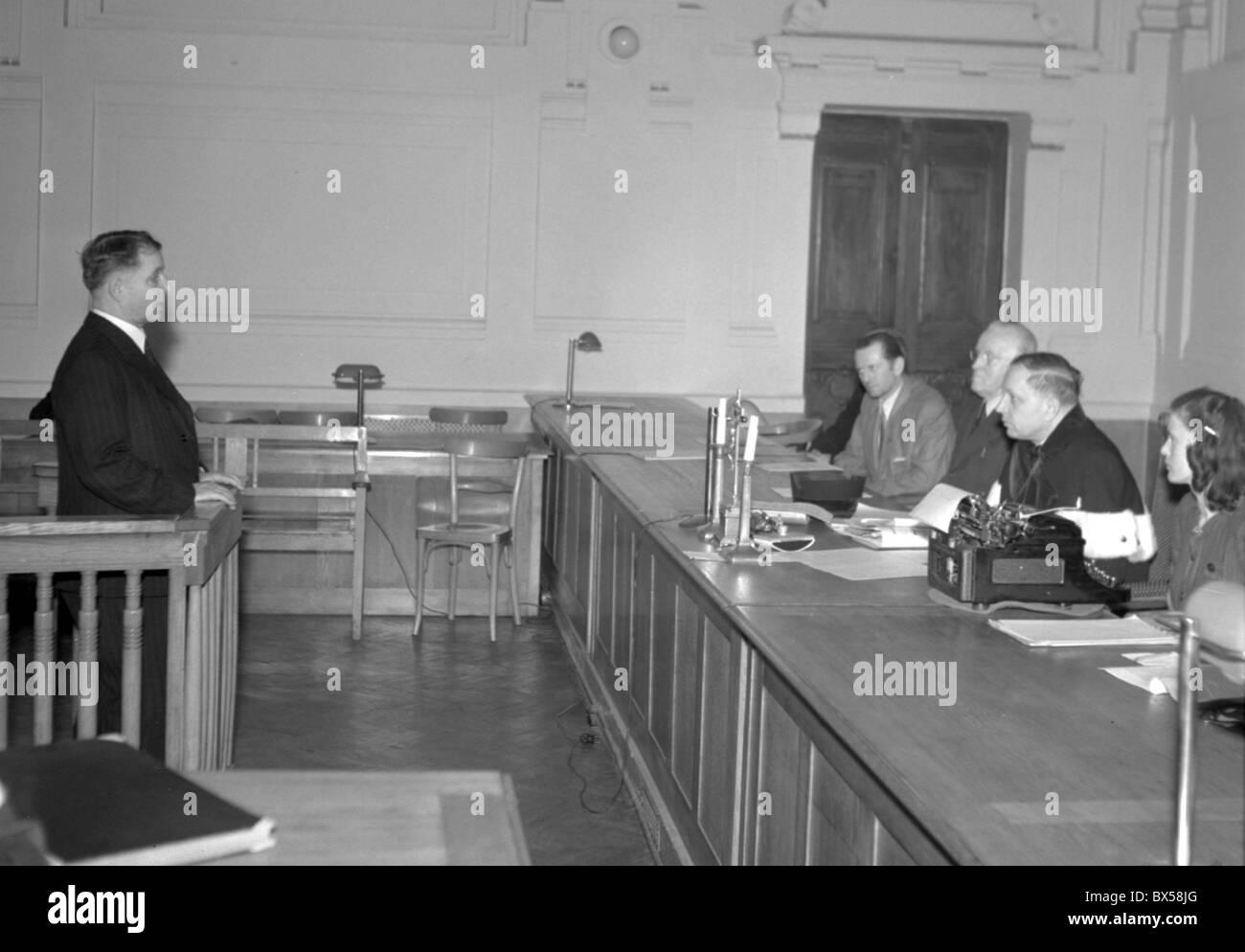 National Court, Josef Urvalek, Frantisek Machlik - Stock Image