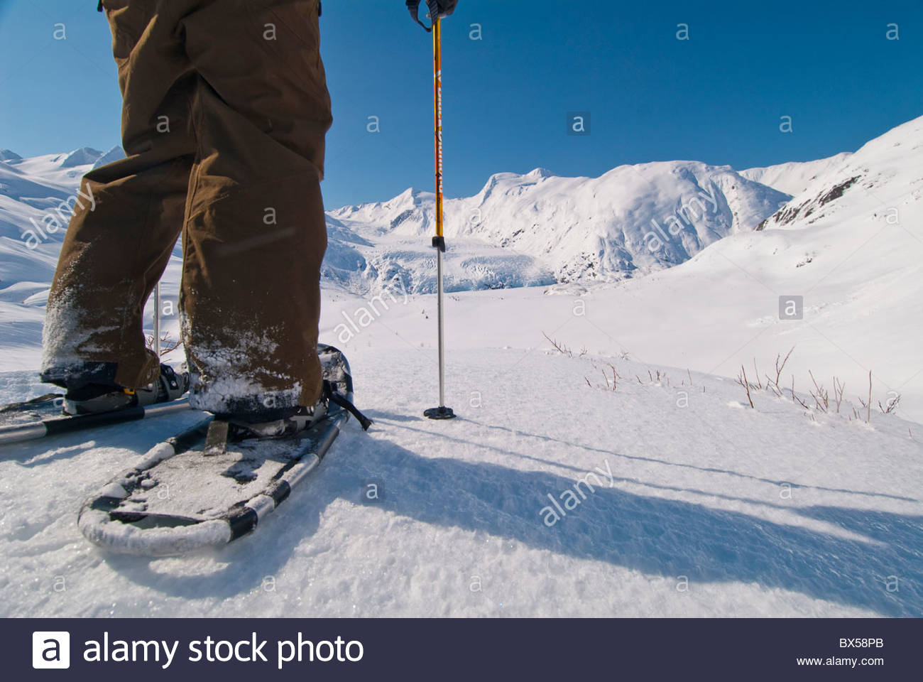 Alaska, Portage Pass in the Chugach National Forest from Whittier to Portage Lake in winter with snowshoes. - Stock Image