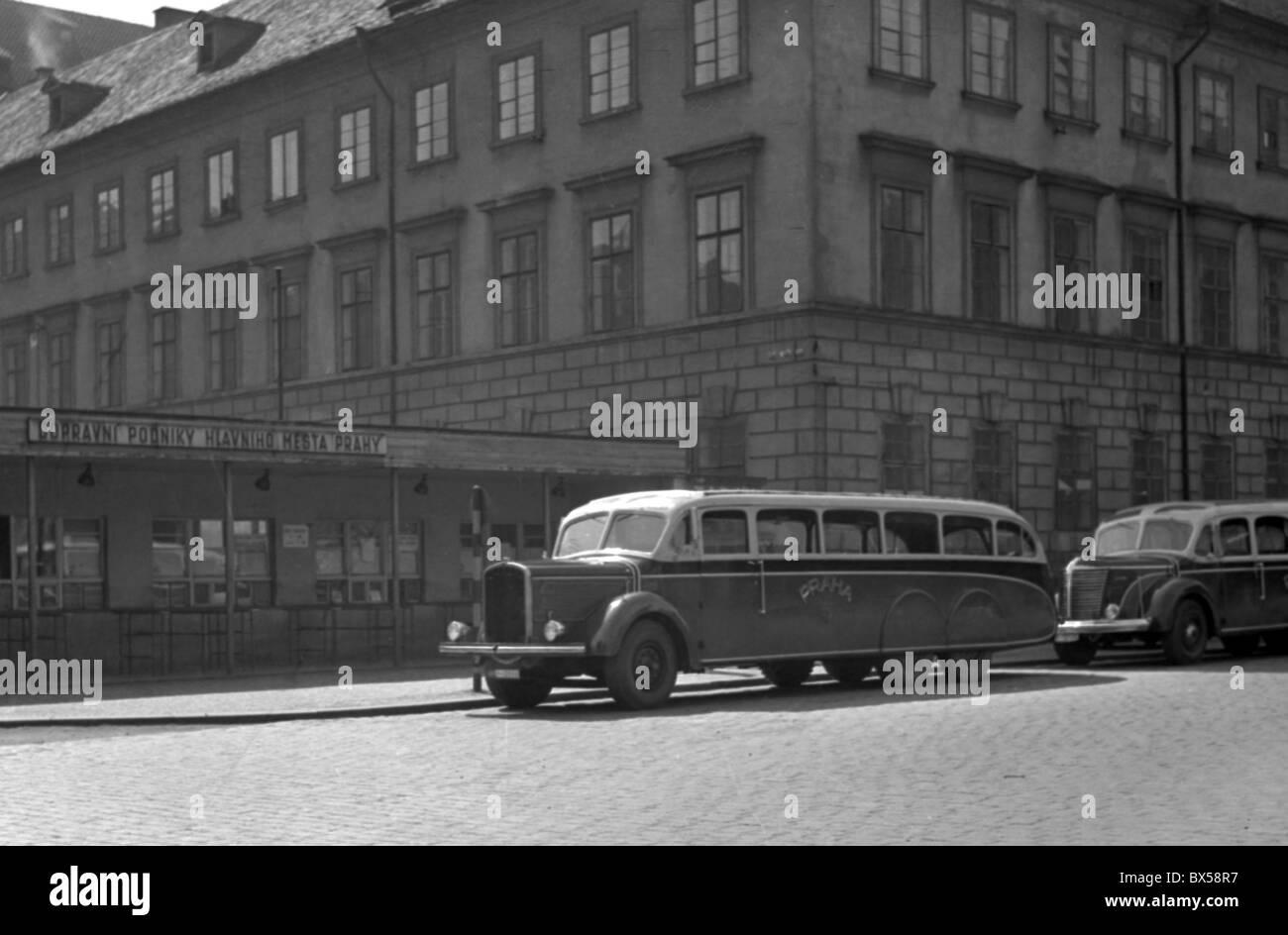 Czechoslovakia - Prague, 1951. Parked siteseeing buses.CTK Vintage Photo - Stock Image