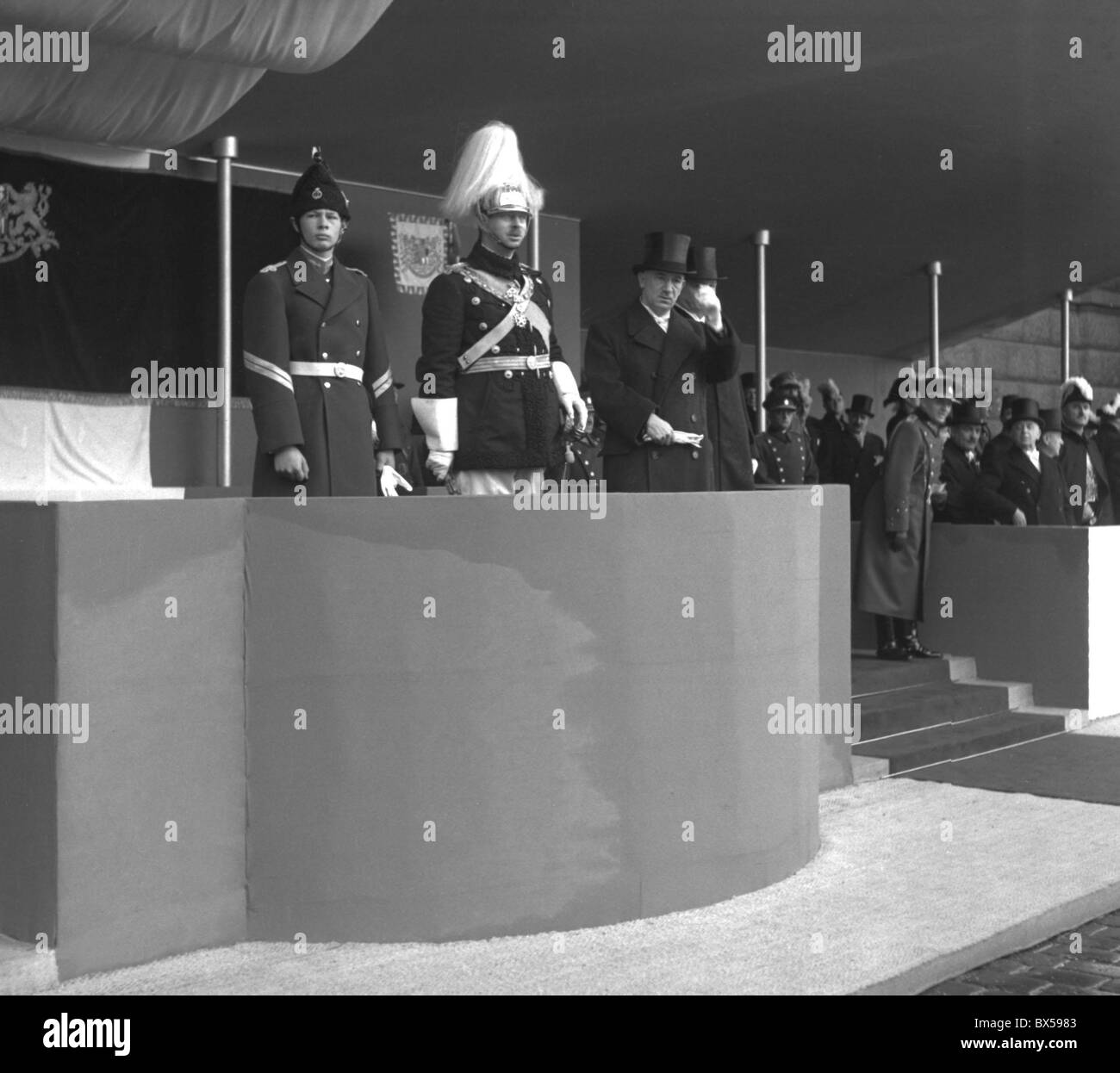King Carol II. from Romania with crown prince Michal visit Prague in October 1936. Stock Photo
