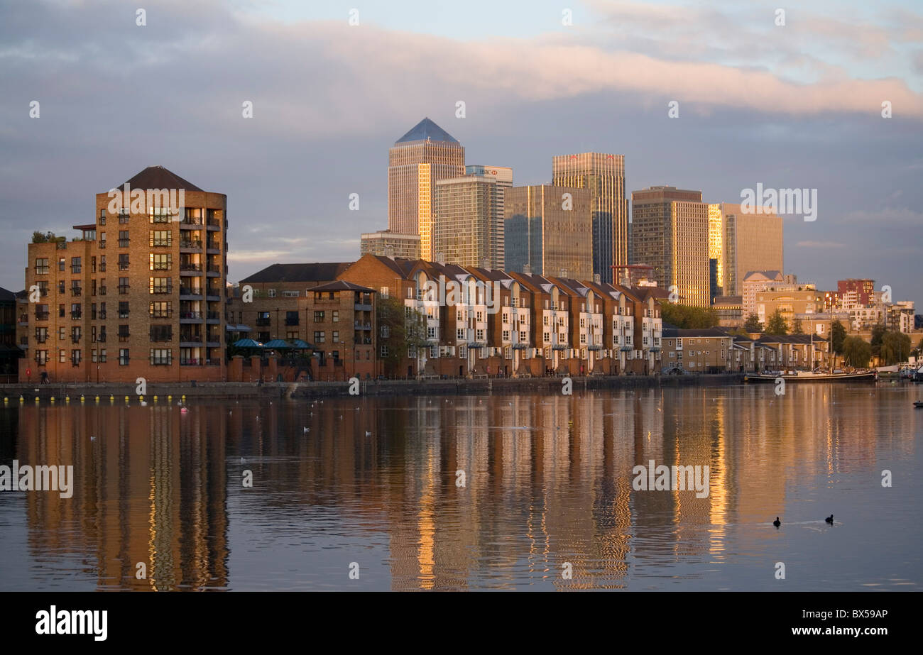 View to the Towers of Canary Wharf From Finland Dock London - Stock Image