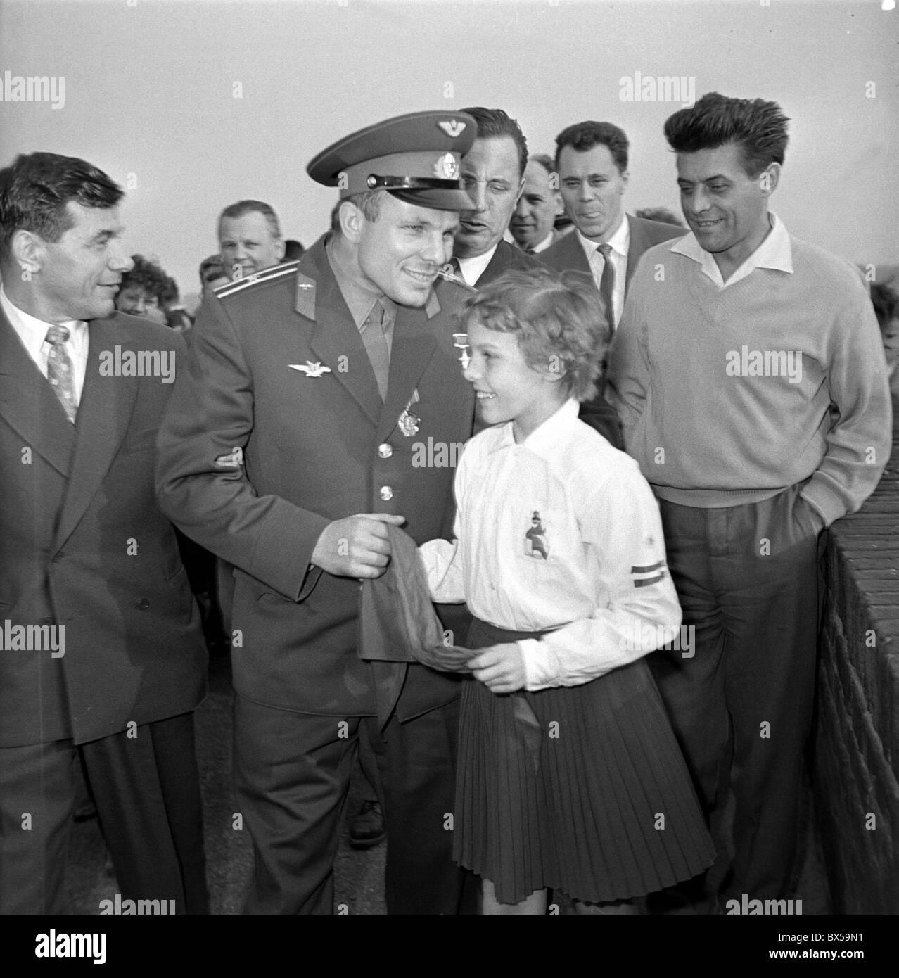 cosmonaut Yuri Gagarin, child, girl, pioneer - Stock Image