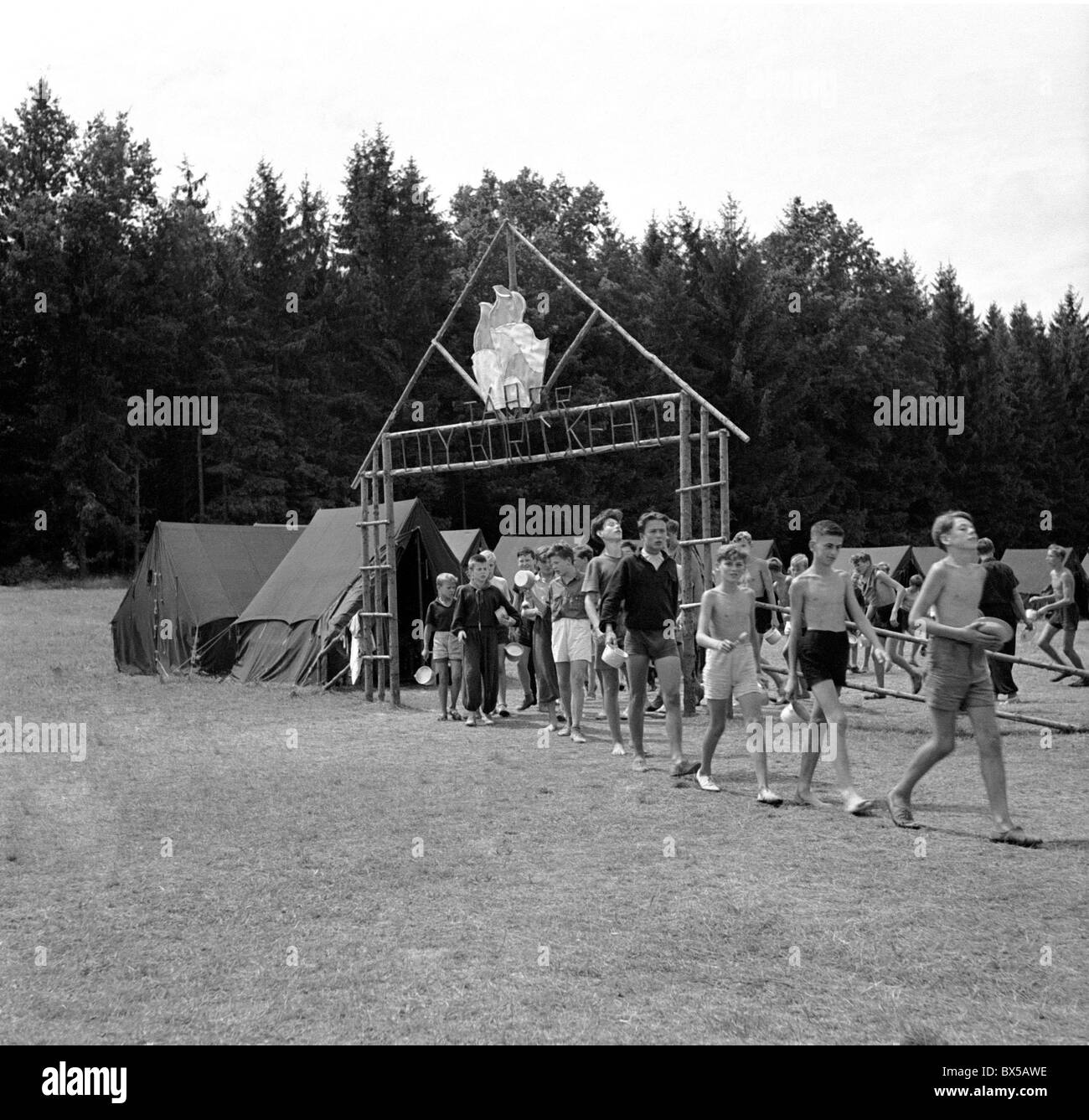Pioneer camp, young Communists - Stock Image