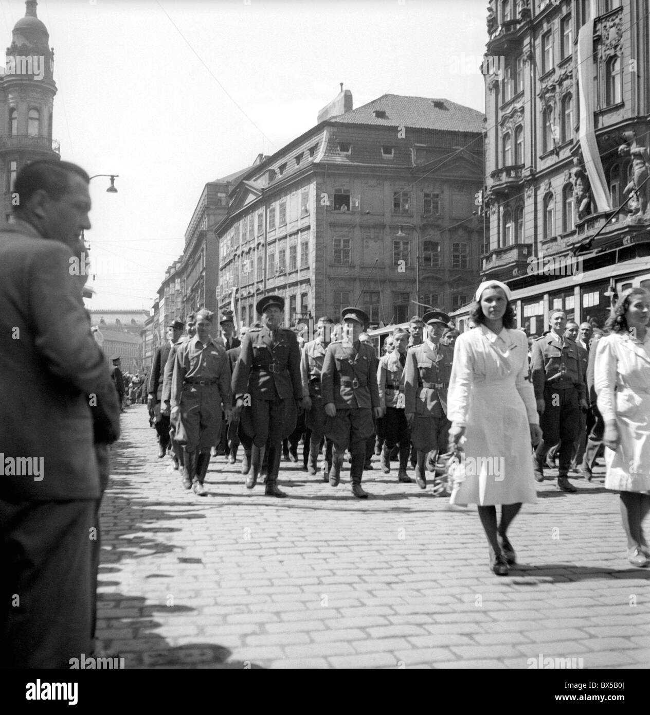 Czechoslovakia 1946. Prague citizens celebrate one year anniversary of WWII  end on May 9th 1946