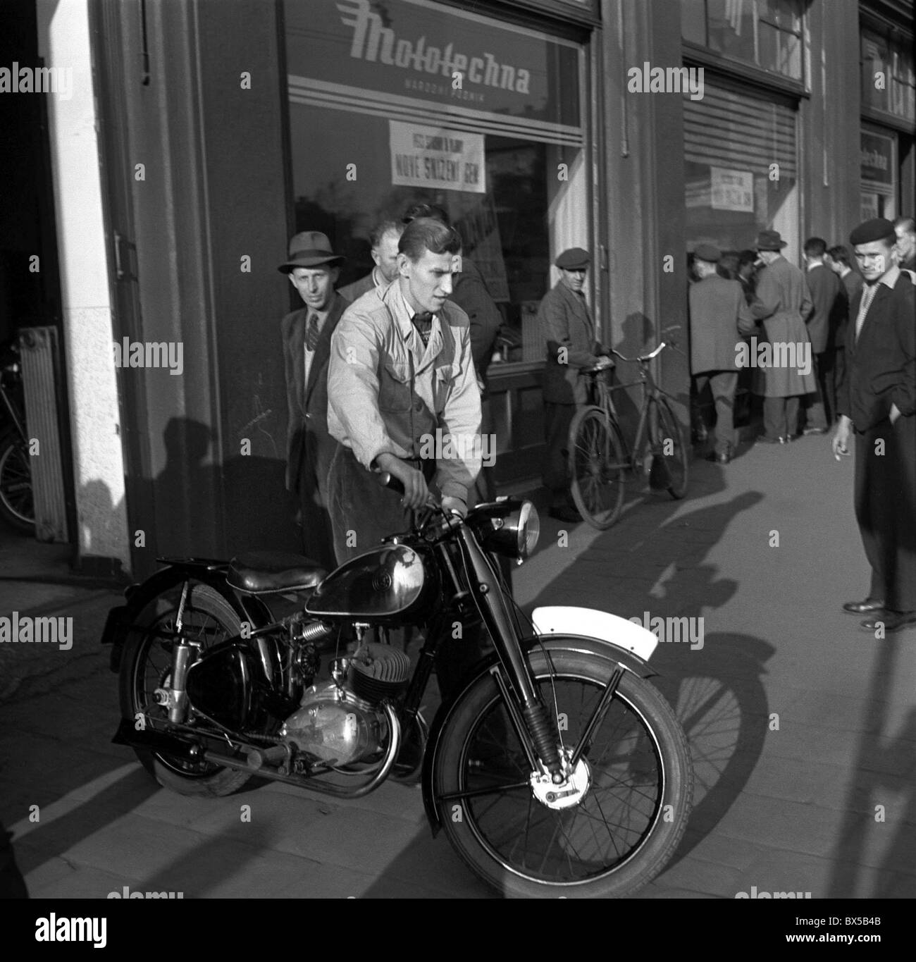 CZ motorcycle, shop, shopping, miner - Stock Image