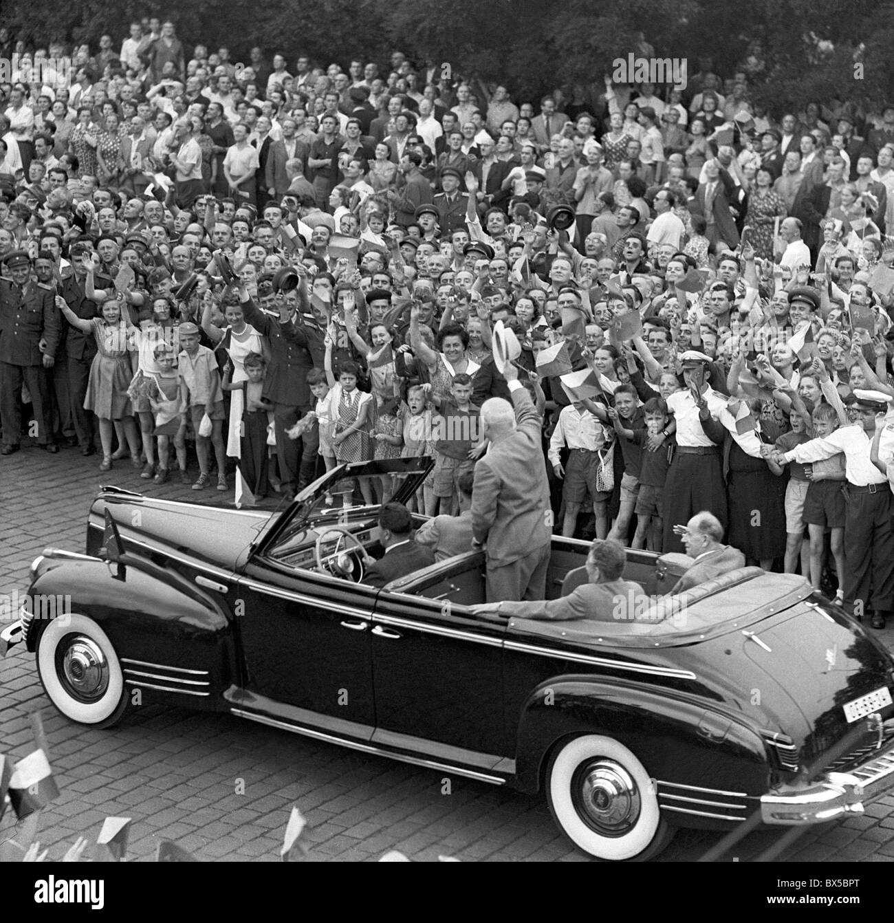 Nikita Khrushchev, car, people - Stock Image