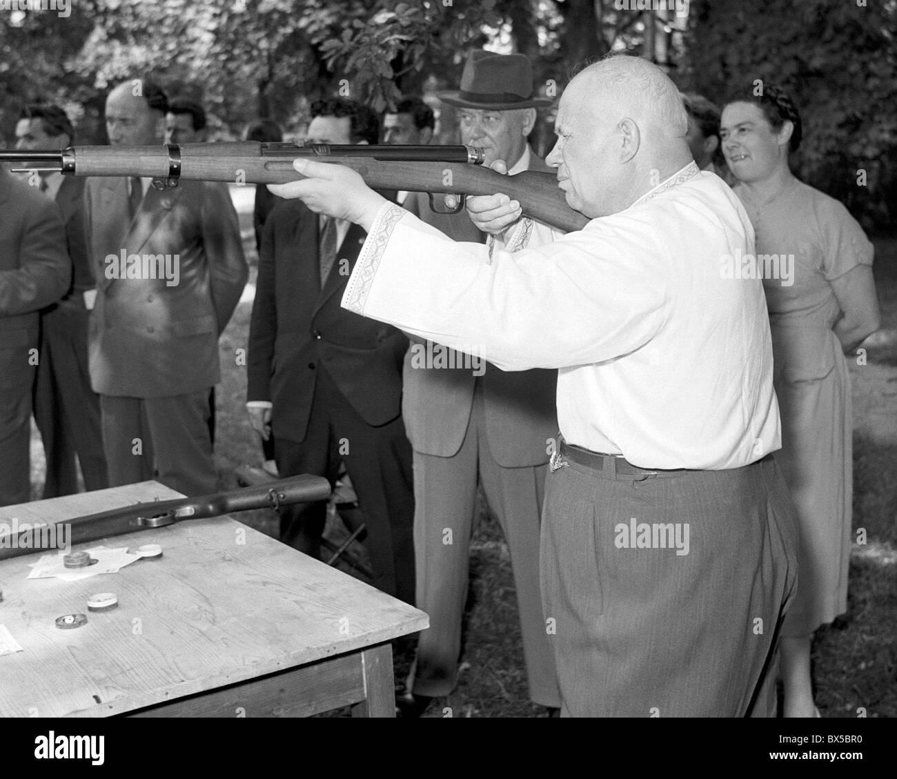 Nikita Khrushchev, air rifle, shirt, shooting - Stock Image
