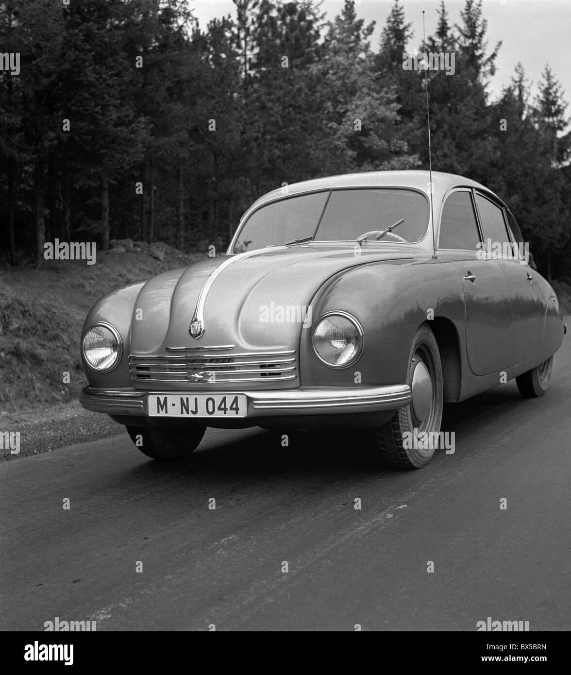 Czechoslovakia 1947 Tatraplan 600 produced by Tatra factory in Koprivnice featured Boxer type engine aerodynamic - Stock Image