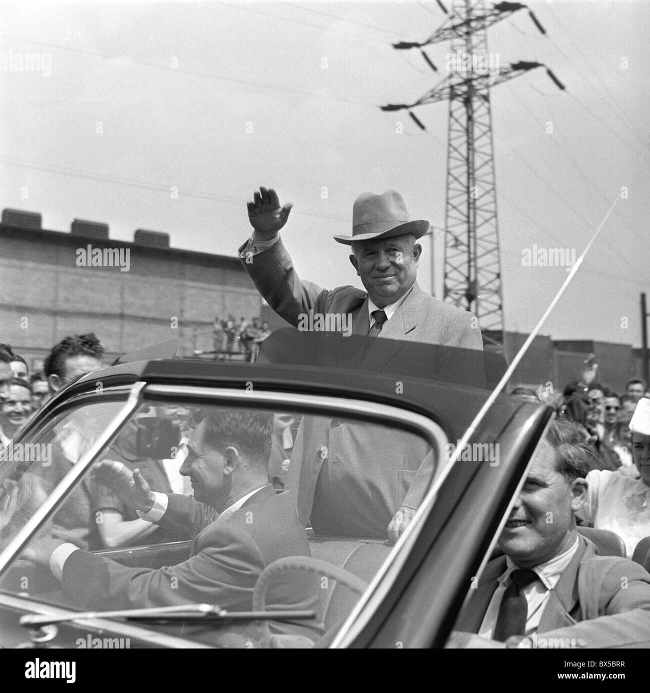 Nikita Khrushchev, hat, car, - Stock Image