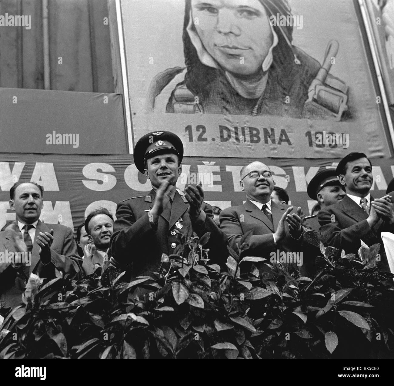 cosmonaut Yuri Gagarin, workers, CKD Stalingrad - Stock Image