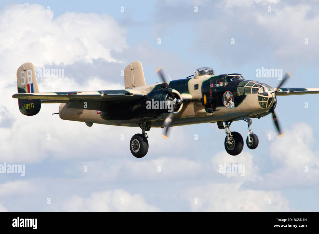 North American B-25J Mitchell on approach for landing at Duxford Flying Legends Airshow Stock Photo
