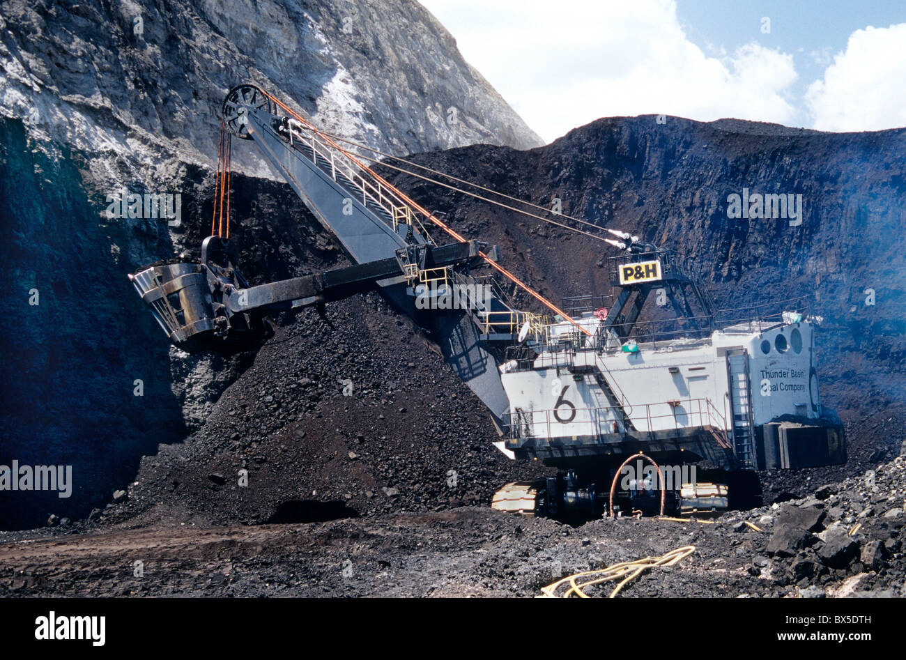Coal, surface mine, P & H Electric Shovel excavating from coal seam. - Stock Image