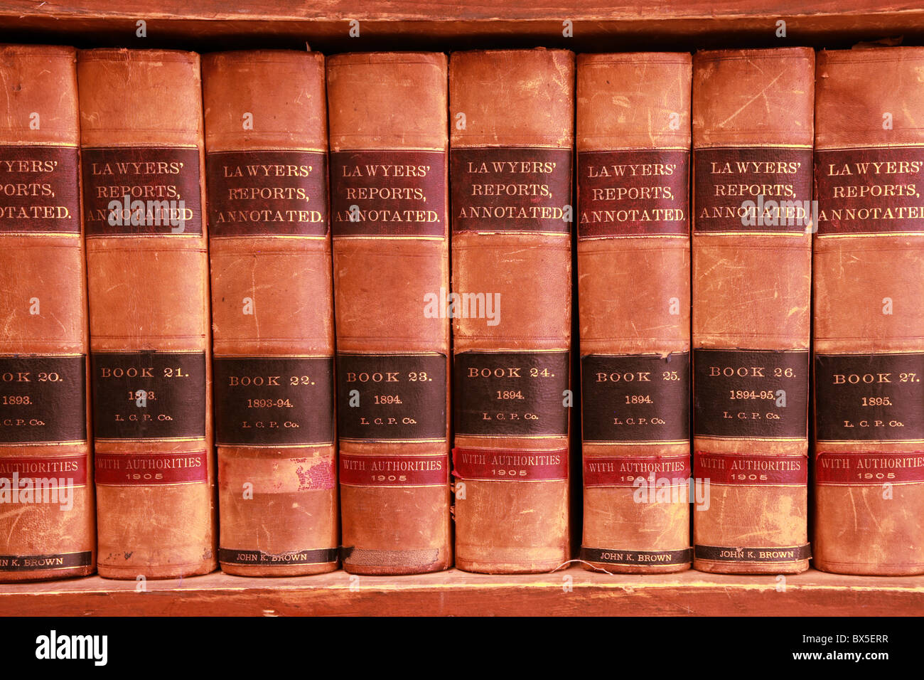 collection of law legal study and education books in museum in Fairbanks, Alaska, USA - Stock Image
