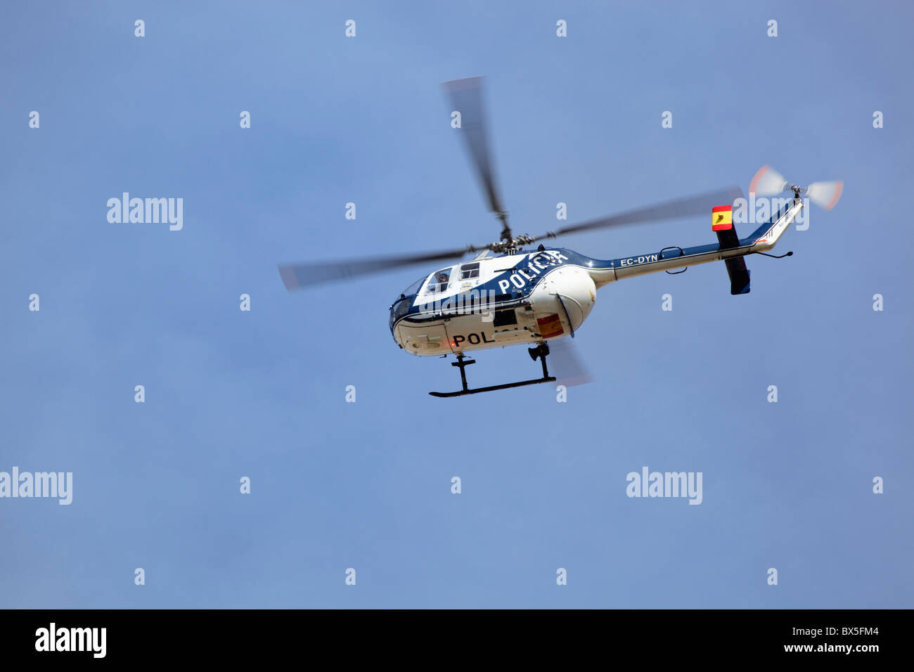 Spanish National Police helicopter. Policia Nacional. Type BO-105 series built by Eurocopter Group. - Stock Image
