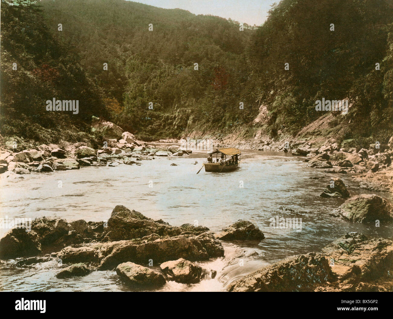geography / travel, Japan, landscapes, boat on the Hozu River Rapids, Kyoto Prefecture, photo, coloured, late 19th - Stock Image