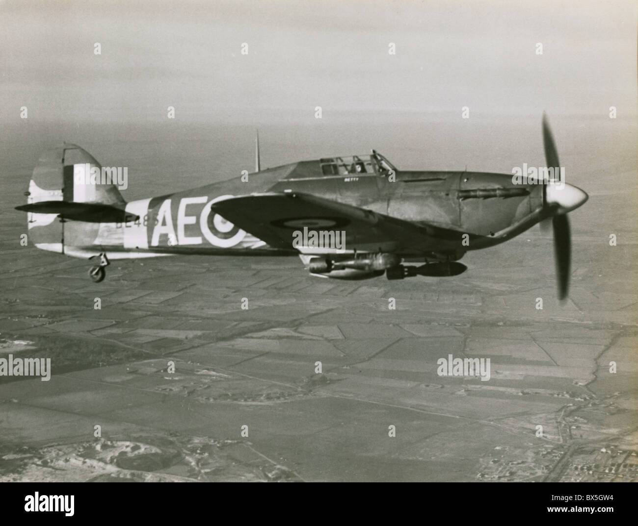 events, Second World War / WWII, aerial warfare, aircraft, British fighter Hawker Hurricane, fighter-bomber version - Stock Image