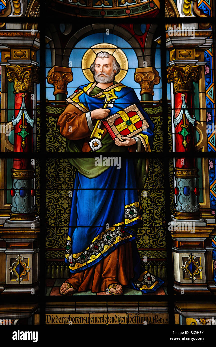 Saint Peter. Stained glass window created by F. Zettler (1878-1911) at the German Church (St. Gertrude's church) Stock Photo