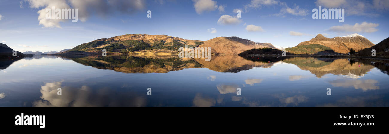 Panoramic view of Loch Levan in flat calm conditions, Glencoe Village, Scotland, UK - Stock Image
